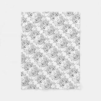 Masquerade Alien Lollipop Line Art Design Fleece Blanket