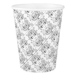Masquerade Alien Lollipop Line Art Design Paper Cup