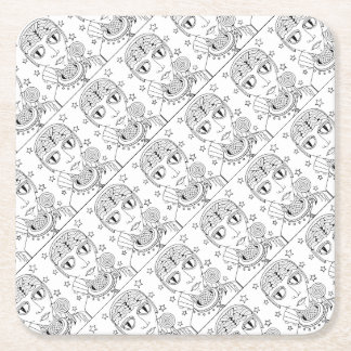 Masquerade Alien Lollipop Line Art Design Square Paper Coaster