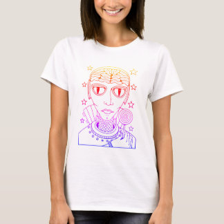 Masquerade Alien Lollipop Line Art Design T-Shirt