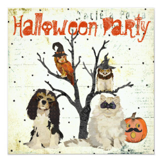 """Masquerade Animals Halloween Invitation 5.25"""" Square Invitation Card"""