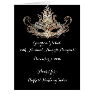 Masquerade Ball Awards Dinner Recipient Card