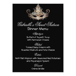 "Masquerade Ball Dinner Menu 6.5"" X 8.75"" Invitation Card"