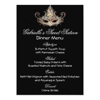 Masquerade Ball Dinner Menu Card