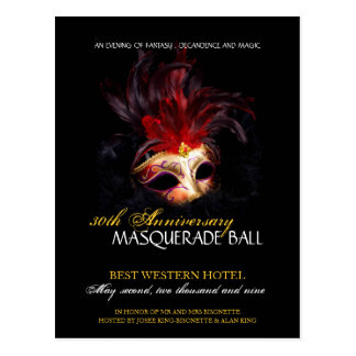 Masquerade Ball Invitation Postcard