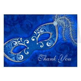 Masquerade Ball Mardi Gras Wedding Thank You Card