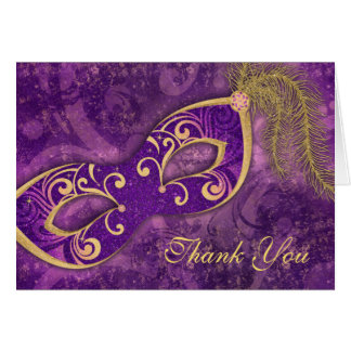 Masquerade Ball Mask Wedding Thank You Purple Card