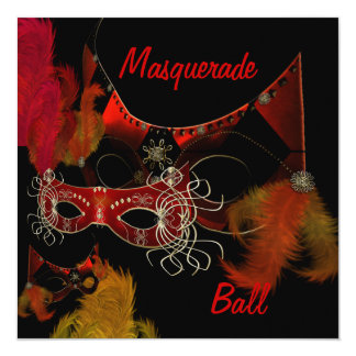 Masquerade Ball Masks Red Black Invite Party
