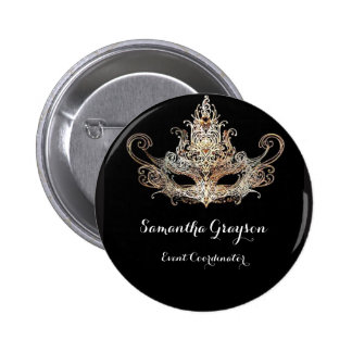 Masquerade Ball Name Badge 2 Inch Round Button