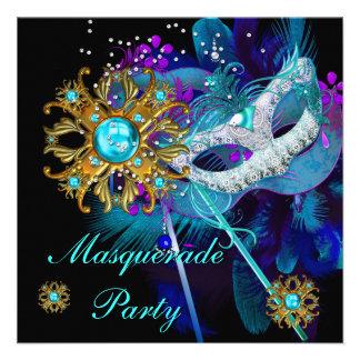 Masquerade Ball Party Teal Blue Black Masks Invitation