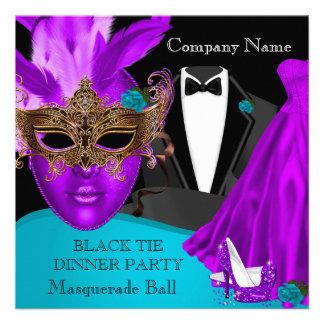 Masquerade Ball Purple Teal Black Tie Party Personalized Invite