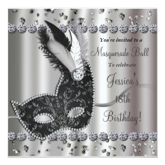 Masquerade Ball Silver Black Party Invitation