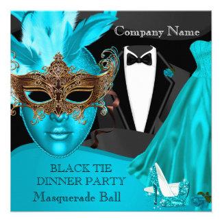 Masquerade Ball Teal Black Tie Corporate Formal Custom Invitation