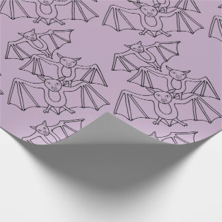 Masquerade Bats Line Art Design Wrapping Paper