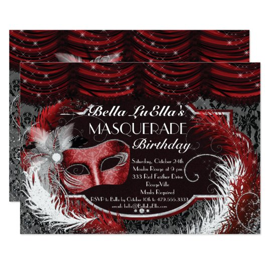 Masquerade Birthday Event Party Invitations