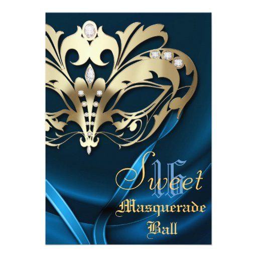 Masquerade Blue Jeweled Sweet 16 Invitation