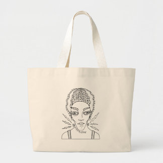 Masquerade Bride Line Art Design Large Tote Bag
