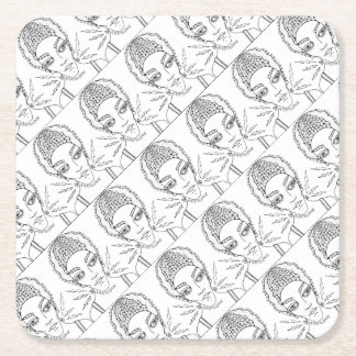 Masquerade Bride Line Art Design Square Paper Coaster
