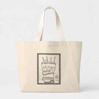 Masquerade Cake Line Art Design Large Tote Bag
