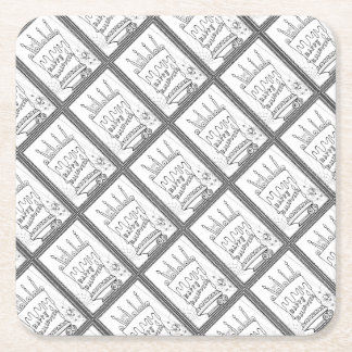 Masquerade Cake Line Art Design Square Paper Coaster