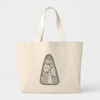 Masquerade Candy Corn Line Art Design Large Tote Bag