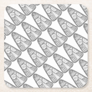 Masquerade Candy Corn Line Art Design Square Paper Coaster