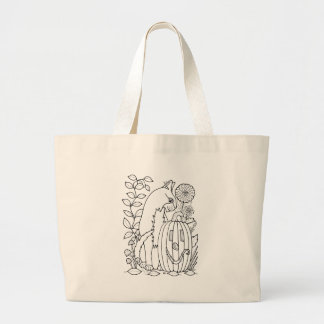 Masquerade Cat Pumpkin Line Art Design Large Tote Bag