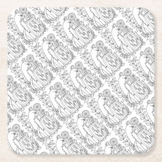 Masquerade Cat Pumpkin Line Art Design Square Paper Coaster