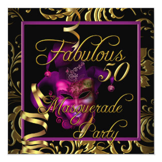 Masquerade Fabulous 50 Gold Pink Birthday Party Card