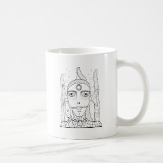 Masquerade Fish Lollipop Line Art Design Coffee Mug