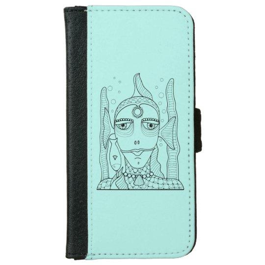 Masquerade Fish Lollipop Line Art Design iPhone 6 Wallet Case