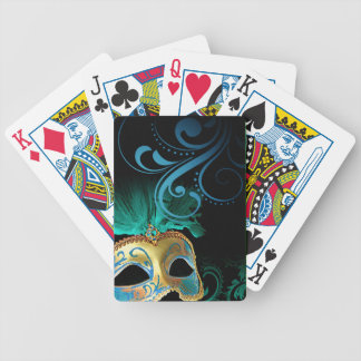 Masquerade Flourish Verdigris turquoise | gold Bicycle Playing Cards