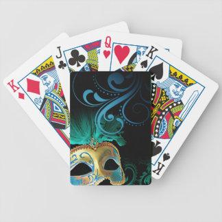 Masquerade Flourish Verdigris turquoise | gold Poker Deck