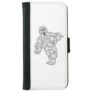 Masquerade Ghost Line Art Design iPhone 6 Wallet Case
