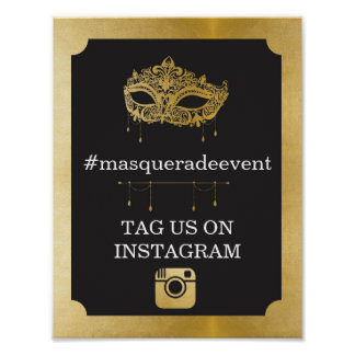 Masquerade Instagram Sign Photo Insta Event Party