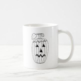 Masquerade Jack O Lantern Two Line Art Design Coffee Mug
