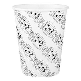 Masquerade Jack O Lantern Two Line Art Design Paper Cup