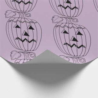 Masquerade Jack O Lantern Two Line Art Design Wrapping Paper