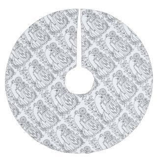 Masquerade Kitty Mouse Lollipop Line Art Design Brushed Polyester Tree Skirt