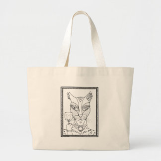 Masquerade Kitty Mouse Lollipop Line Art Design.pd Large Tote Bag