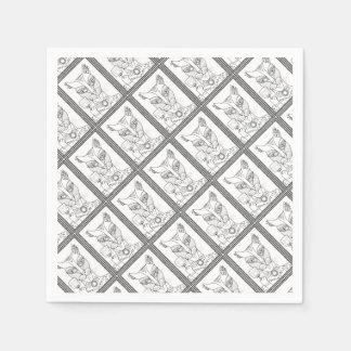 Masquerade Kitty Mouse Lollipop Line Art Design.pd Paper Napkin