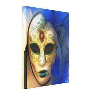 Masquerade Mask & Blue Feather - Mask Canvas Print