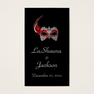 """Masquerade Mask"" - Red w/ Lace Business Card"
