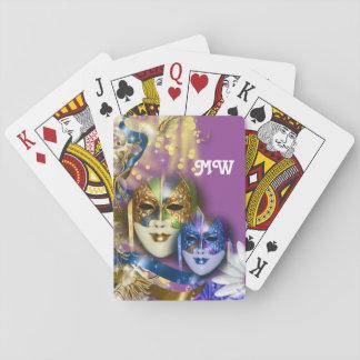 Masquerade monogram girls name PERSONALIZE Poker Deck