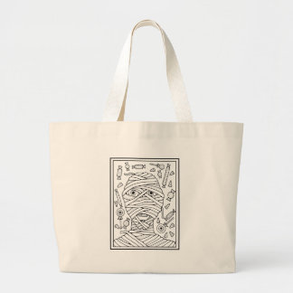 Masquerade Mummy Line Art Design Large Tote Bag