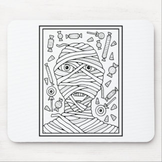 Masquerade Mummy Line Art Design Mouse Pad