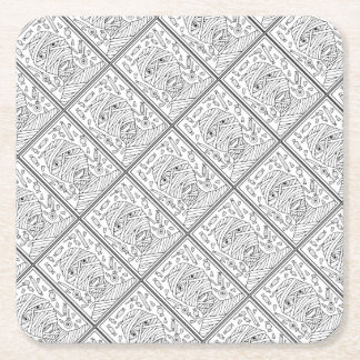Masquerade Mummy Line Art Design Square Paper Coaster