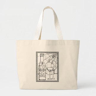 Masquerade Newt Martini Line Art Design Large Tote Bag