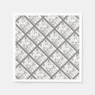 Masquerade Newt Martini Line Art Design Paper Napkins