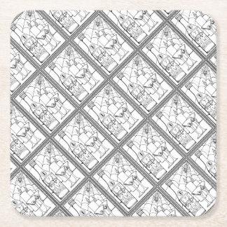 Masquerade Newt Martini Line Art Design Square Paper Coaster